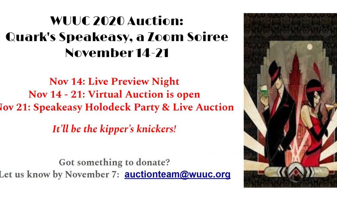 WUUC 2020 Auction Fundraiser & Party, Nov. 14-21